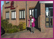 Rebekah at The Leprosy Mission offices in Peterborough