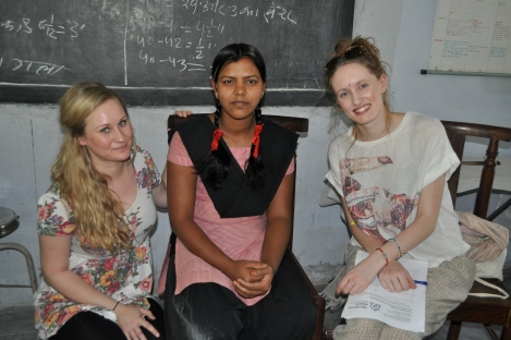 Josie (right) and Hana meet Reeta, a student at Faizabad VTC
