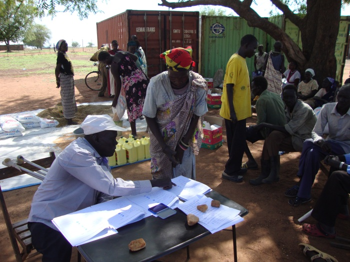 Emergency aid is distributed to the Luri Rokwe leprosy community in Juba, South Sudan.