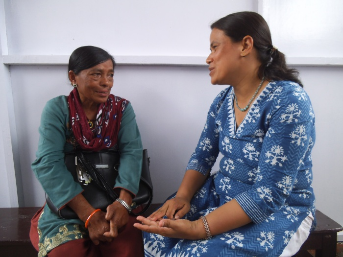 Rasmi talks with Dr Ruth, the counsellor at Anandaban Hospital.