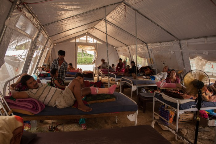 Patients at Anandaban Hospital are being treated in tents to due to earthquake damage. Photo: Dan Court, International Health Partners