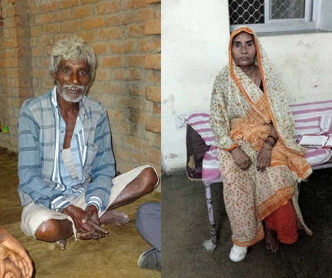 Siphi and Bela. Bela is affected by leprosy and receives treatment at Naini Hospital.