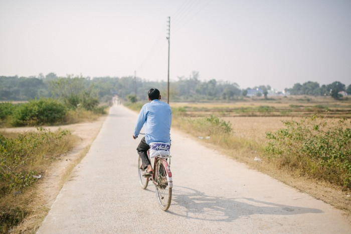 A man makes his way to Purulia Hospital, West Bengal.